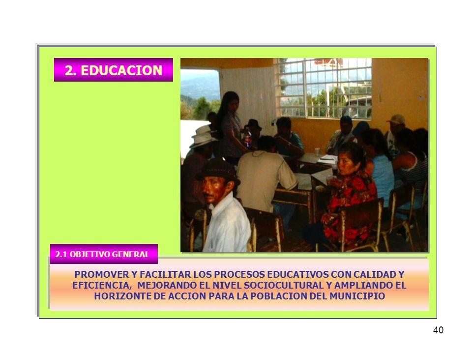 2. EDUCACION 2.1 OBJETIVO GENERAL.