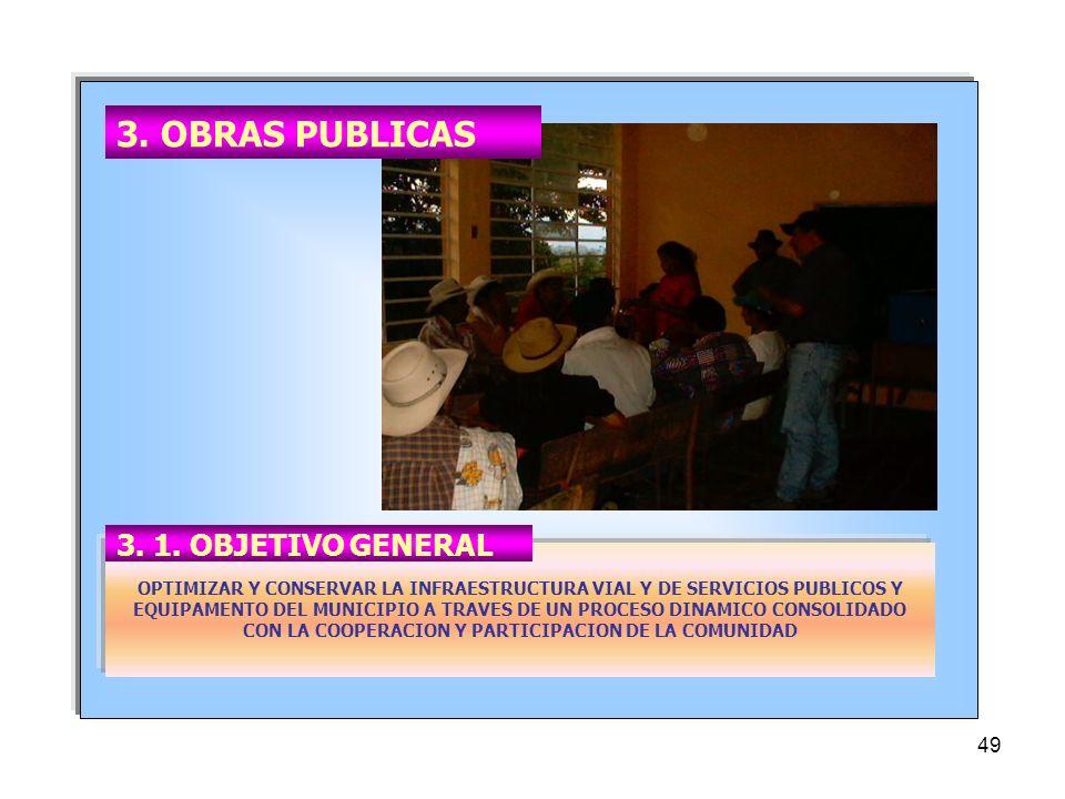 3. OBRAS PUBLICAS 3. 1. OBJETIVO GENERAL