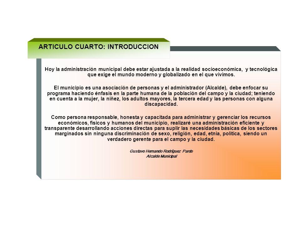 ARTICULO CUARTO: INTRODUCCION Gustavo Hernando Rodríguez Pardo