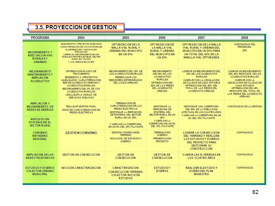 3.5. PROYECCION DE GESTION PROGRAMA 2004 2005 2006 2007 2008