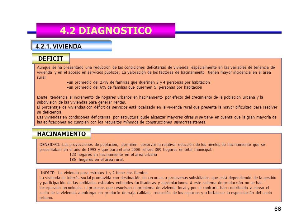 4.2 DIAGNOSTICO 4.2.1. VIVIENDA DEFICIT HACINAMIENTO