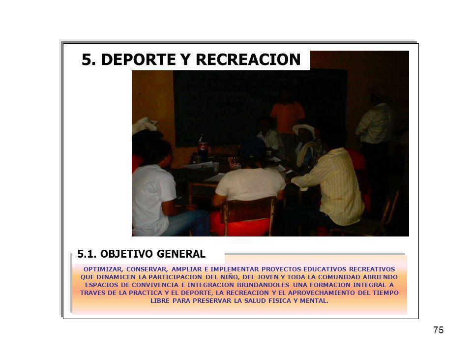 5. DEPORTE Y RECREACION 5.1. OBJETIVO GENERAL