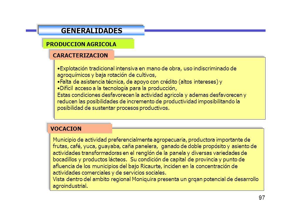 GENERALIDADES PRODUCCION AGRICOLA CARACTERIZACION