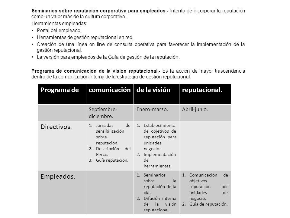 Programa de comunicación de la visión reputacional. Directivos.