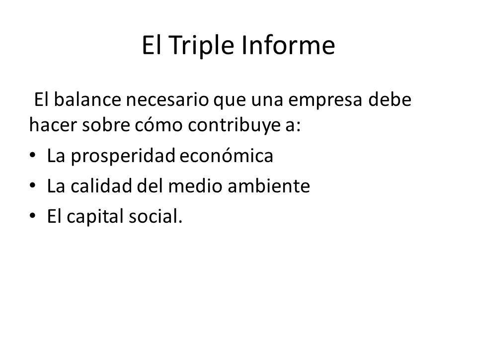 El Triple Informe El balance necesario que una empresa debe hacer sobre cómo contribuye a: La prosperidad económica.
