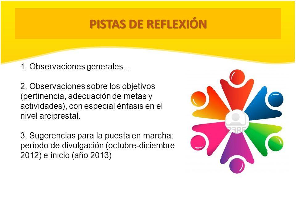 PISTAS DE REFLEXIÓN 1. Observaciones generales...