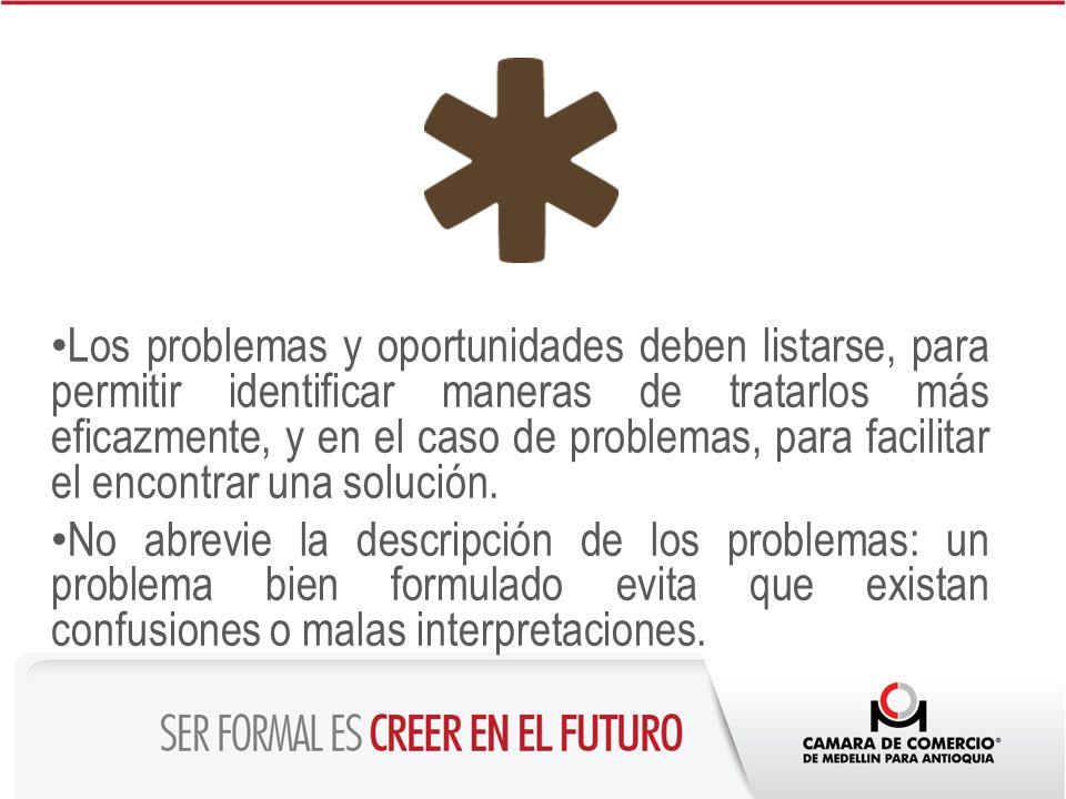 Los problemas y oportunidades deben listarse, para permitir identificar maneras de tratarlos más eficazmente, y en el caso de problemas, para facilitar el encontrar una solución.