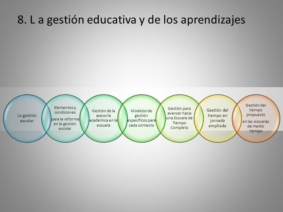 8. L a gestión educativa y de los aprendizajes