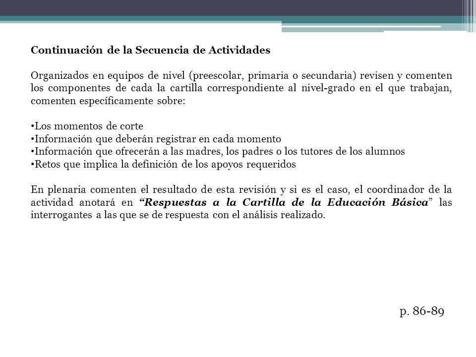 p. 86-89 Continuación de la Secuencia de Actividades