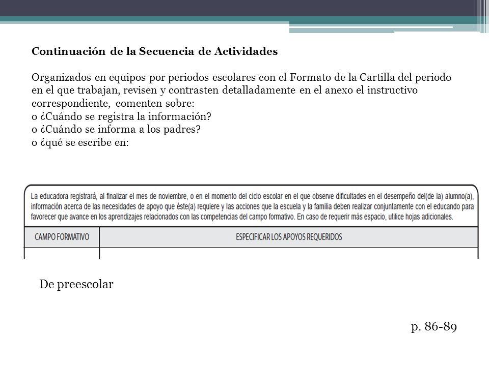 De preescolar p. 86-89 Continuación de la Secuencia de Actividades