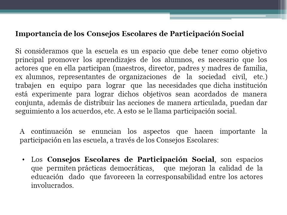 Importancia de los Consejos Escolares de Participación Social