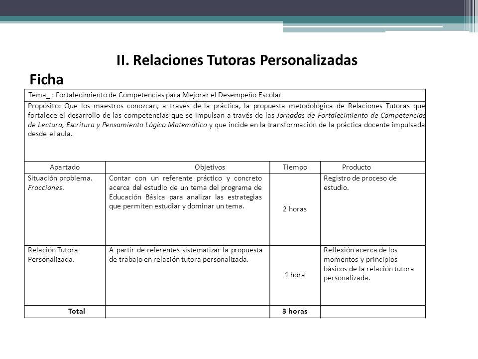II. Relaciones Tutoras Personalizadas