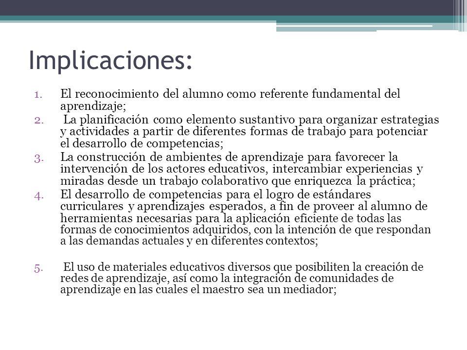 Implicaciones: El reconocimiento del alumno como referente fundamental del aprendizaje;