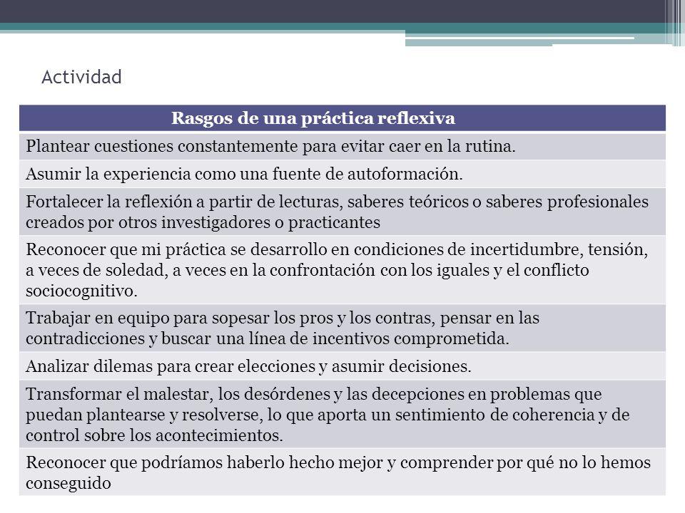Rasgos de una práctica reflexiva