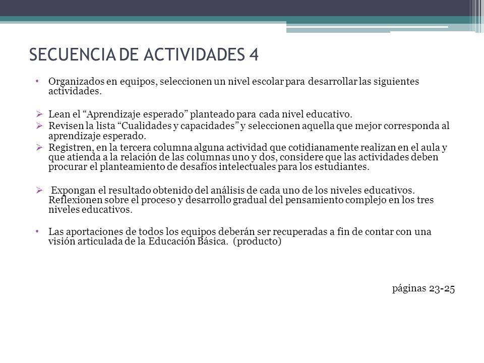 SECUENCIA DE ACTIVIDADES 4