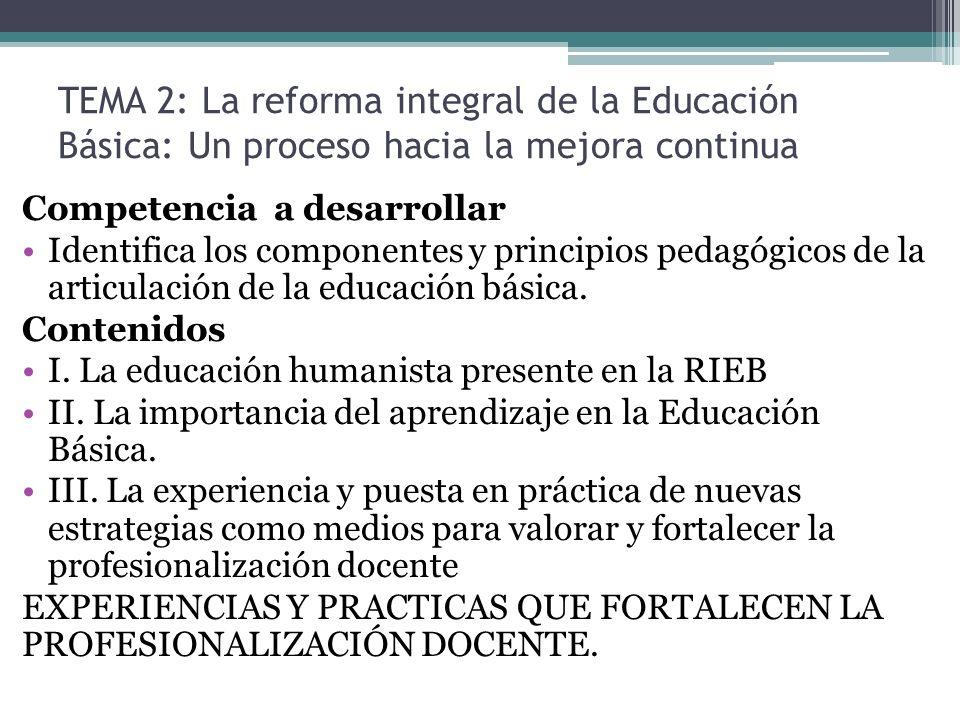 TEMA 2: La reforma integral de la Educación Básica: Un proceso hacia la mejora continua