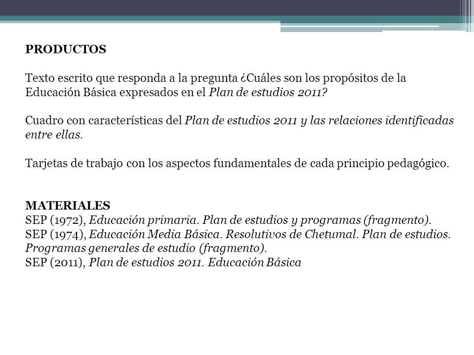PRODUCTOS Texto escrito que responda a la pregunta ¿Cuáles son los propósitos de la Educación Básica expresados en el Plan de estudios 2011