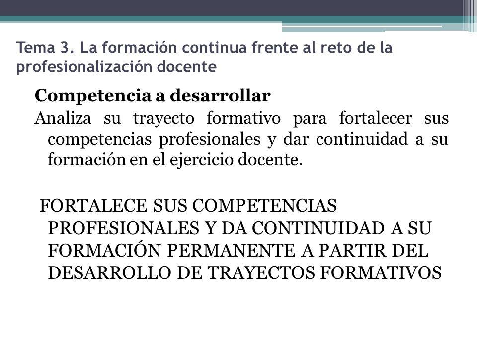 Tema 3. La formación continua frente al reto de la profesionalización docente