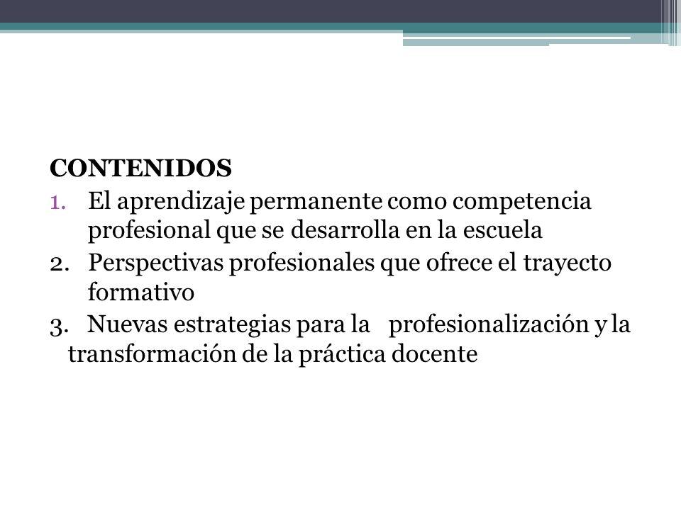 CONTENIDOS El aprendizaje permanente como competencia profesional que se desarrolla en la escuela.