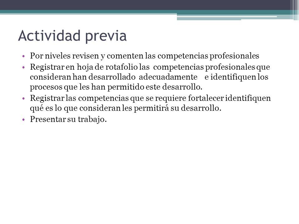 Actividad previa Por niveles revisen y comenten las competencias profesionales.