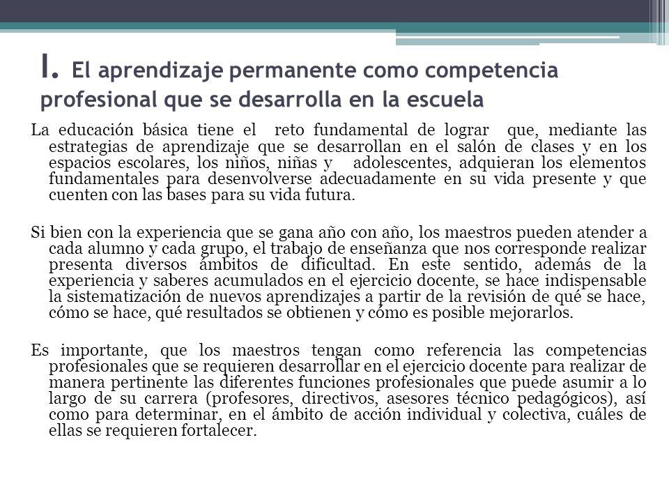I. El aprendizaje permanente como competencia profesional que se desarrolla en la escuela