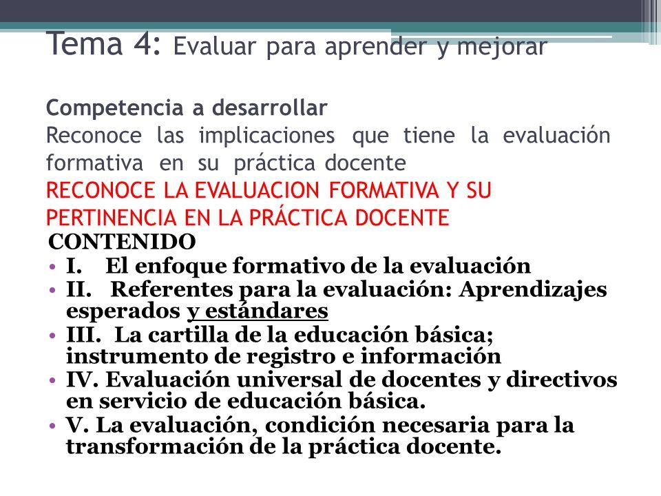 Tema 4: Evaluar para aprender y mejorar Competencia a desarrollar Reconoce las implicaciones que tiene la evaluación formativa en su práctica docente RECONOCE LA EVALUACION FORMATIVA Y SU PERTINENCIA EN LA PRÁCTICA DOCENTE