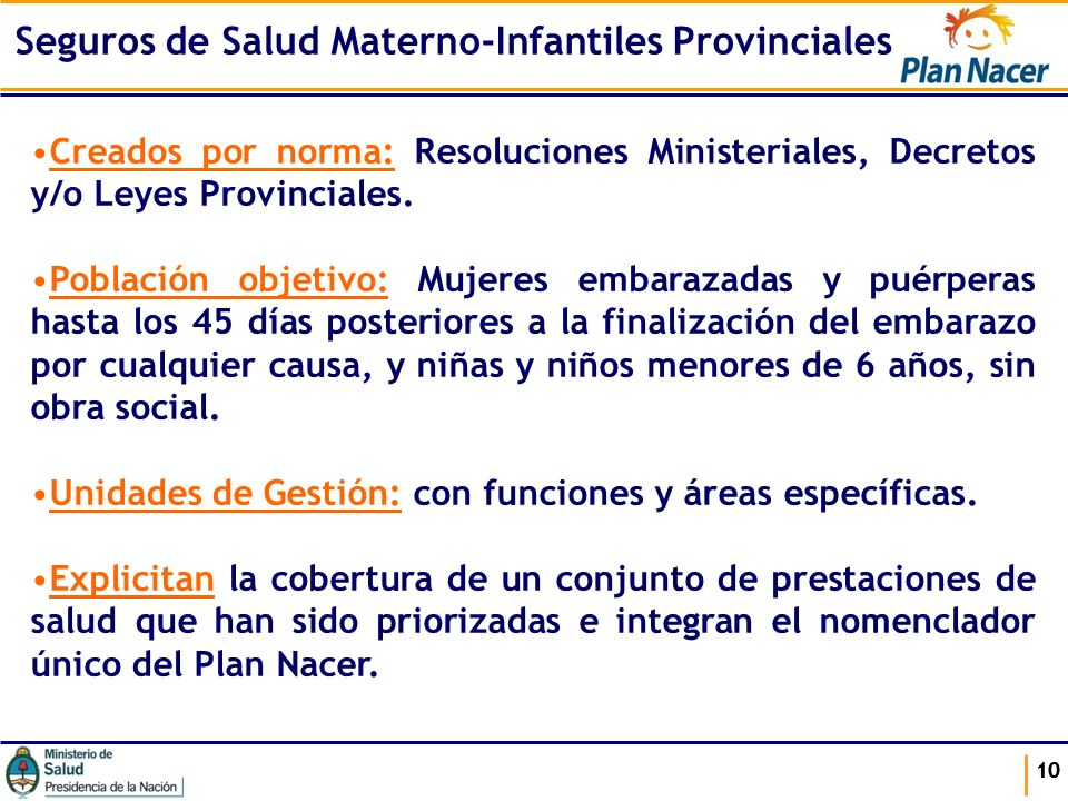 Seguros de Salud Materno-Infantiles Provinciales