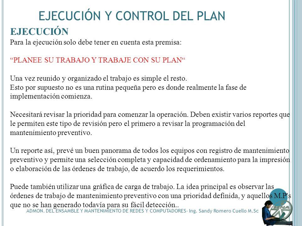 EJECUCIÓN Y CONTROL DEL PLAN