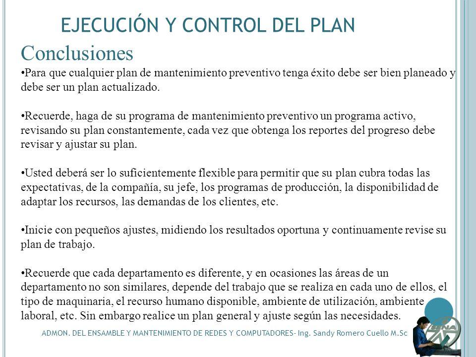 Conclusiones EJECUCIÓN Y CONTROL DEL PLAN
