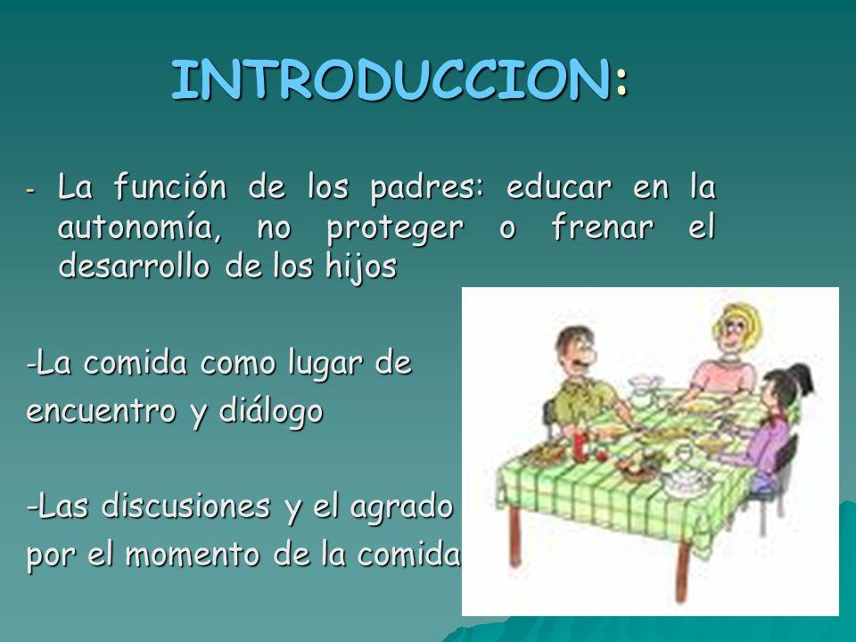INTRODUCCION: La función de los padres: educar en la autonomía, no proteger o frenar el desarrollo de los hijos.