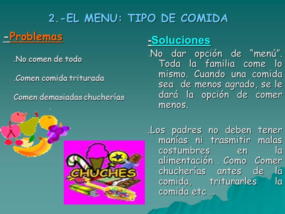 2.-EL MENU: TIPO DE COMIDA