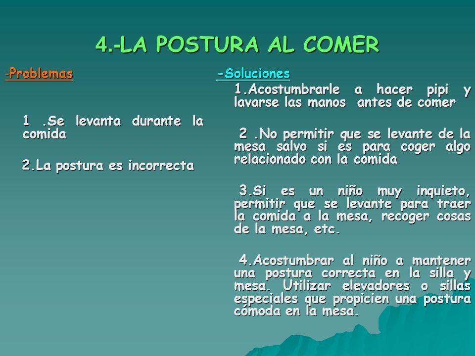 4.-LA POSTURA AL COMER -Problemas 1 .Se levanta durante la comida