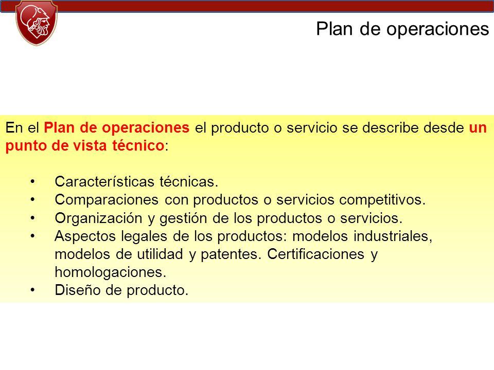 Plan de operaciones En el Plan de operaciones el producto o servicio se describe desde un punto de vista técnico: