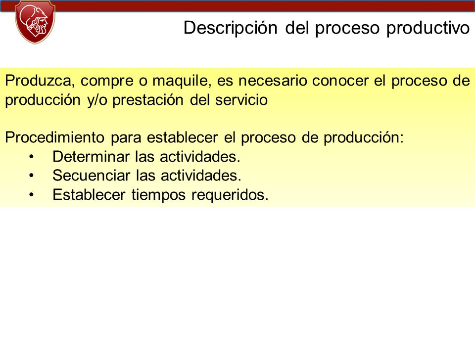 Descripción del proceso productivo
