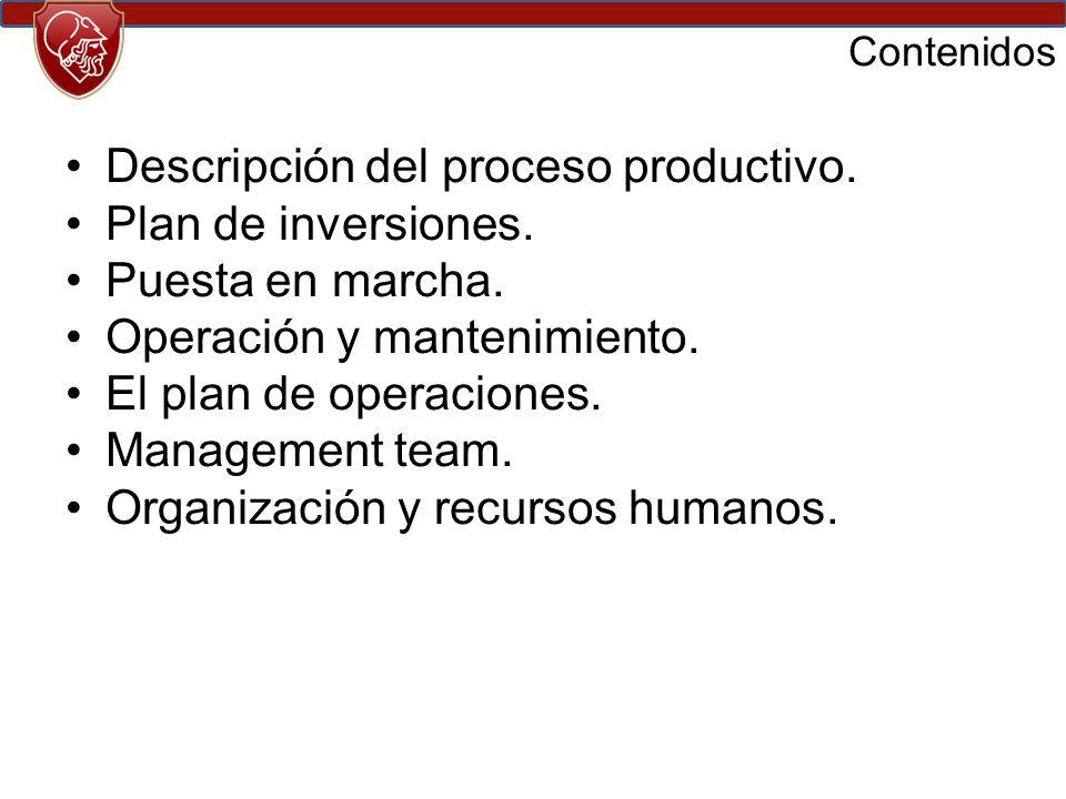 Descripción del proceso productivo. Plan de inversiones.