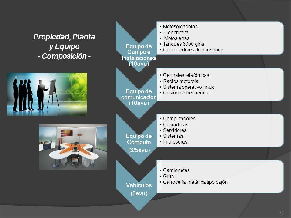 Propiedad, Planta y Equipo - Composición -