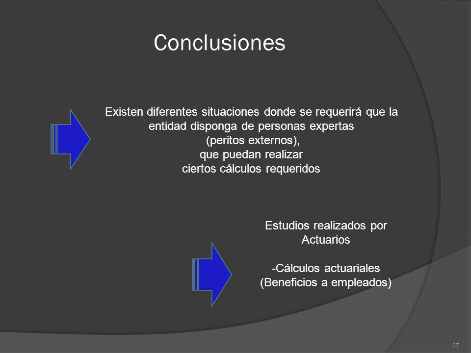 Conclusiones Existen diferentes situaciones donde se requerirá que la entidad disponga de personas expertas.