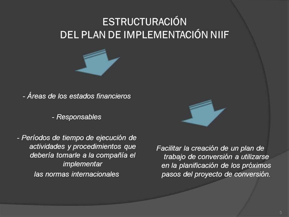 ESTRUCTURACIÓN DEL PLAN DE IMPLEMENTACIÓN NIIF