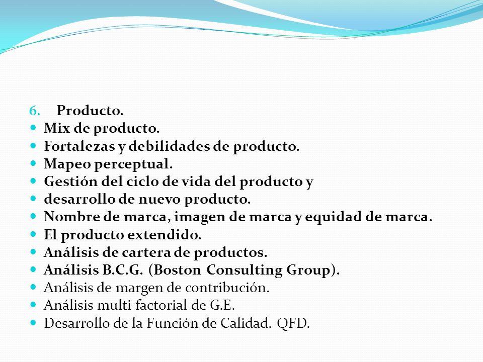 Producto. Mix de producto. Fortalezas y debilidades de producto. Mapeo perceptual. Gestión del ciclo de vida del producto y.