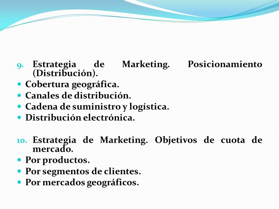 Estrategia de Marketing. Posicionamiento (Distribución).