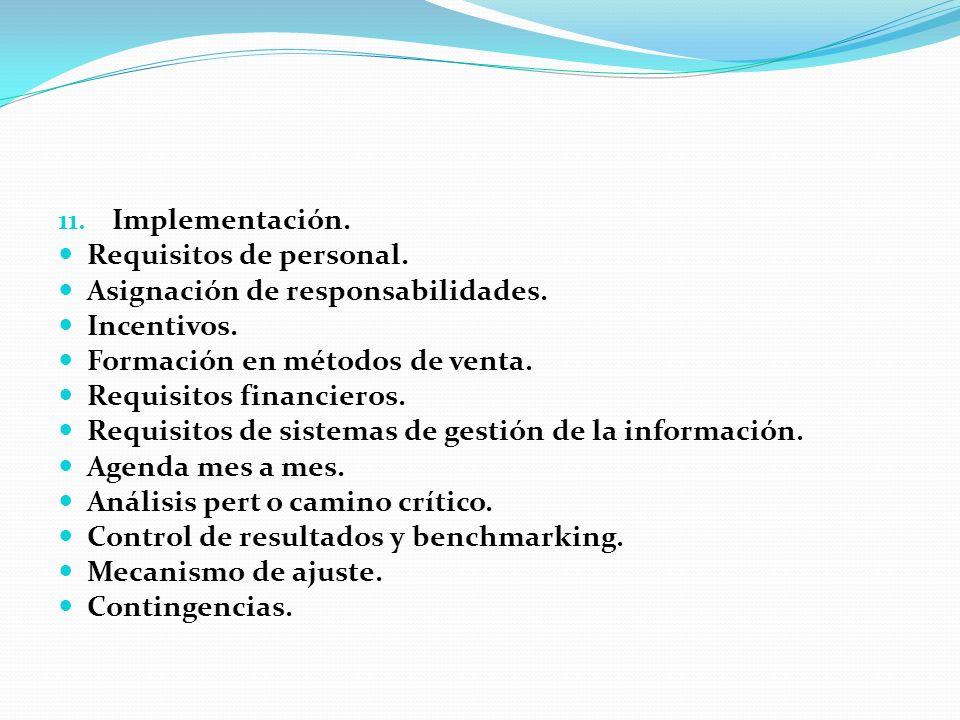 Implementación. Requisitos de personal. Asignación de responsabilidades. Incentivos. Formación en métodos de venta.