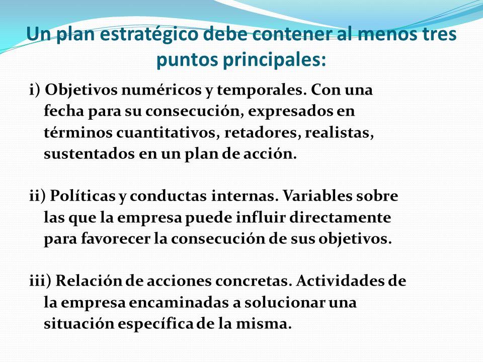 Un plan estratégico debe contener al menos tres puntos principales: