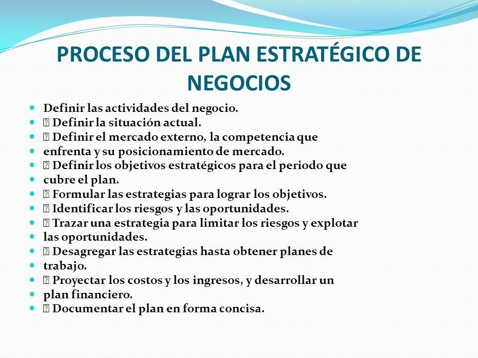PROCESO DEL PLAN ESTRATÉGICO DE NEGOCIOS