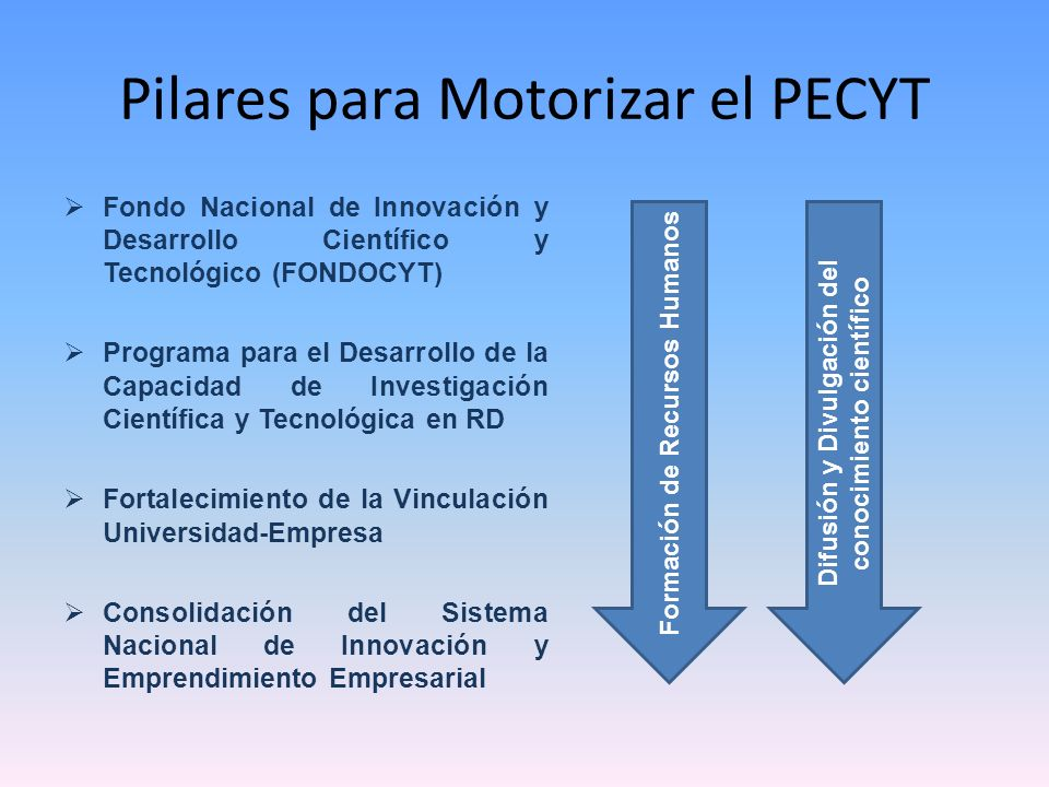 Pilares para Motorizar el PECYT