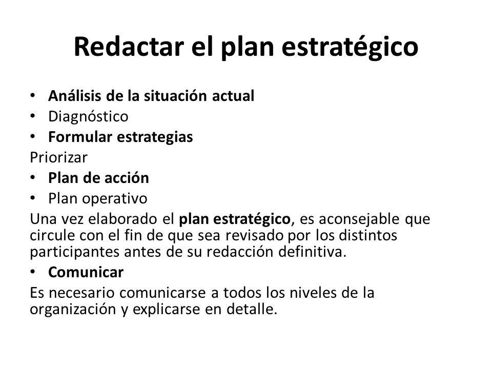 Redactar el plan estratégico