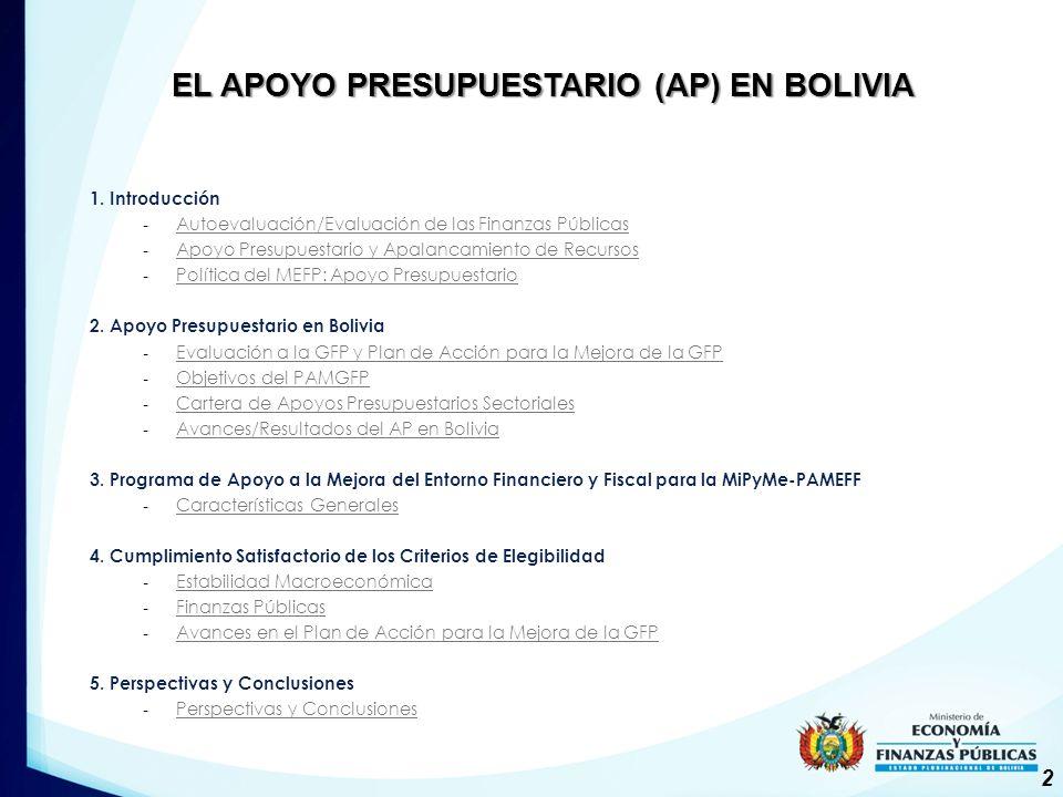 EL APOYO PRESUPUESTARIO (AP) EN BOLIVIA