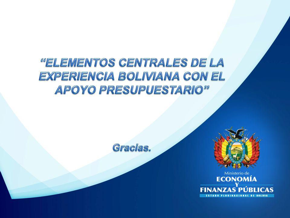 ELEMENTOS CENTRALES DE LA EXPERIENCIA BOLIVIANA CON EL APOYO PRESUPUESTARIO