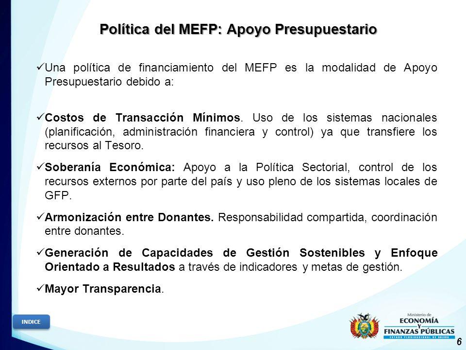Política del MEFP: Apoyo Presupuestario