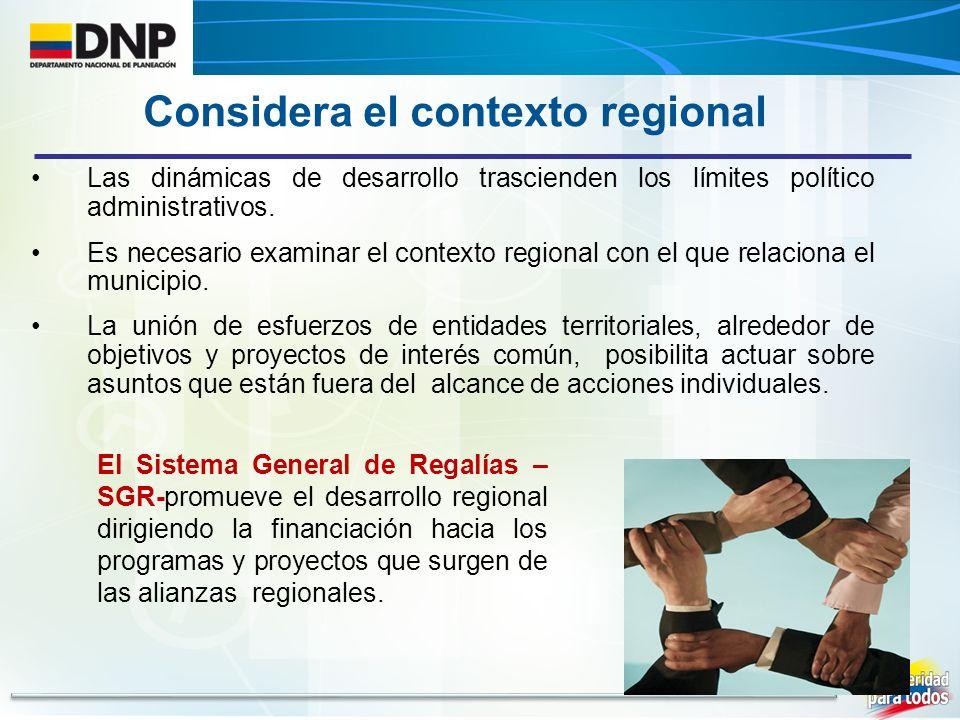 Considera el contexto regional