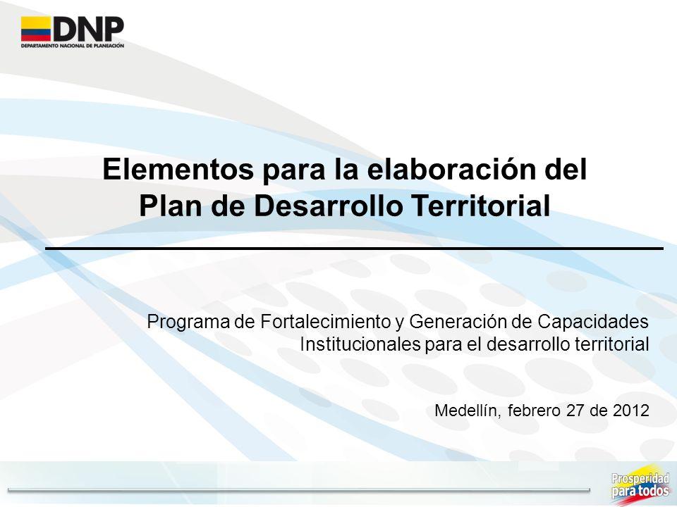 Elementos para la elaboración del Plan de Desarrollo Territorial